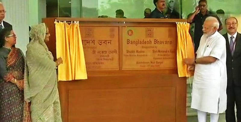 'বাংলাদেশ ভবন' উদ্বোধন করলেন হাসিনা-মোদী
