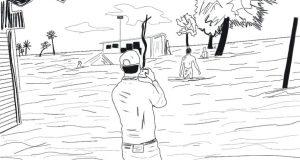 তাসনীমের অঙ্কনে জলোচ্ছ্বাসে ভেসে তরুণ সংবাদকর্মী জুনাইদের সংবাদ সংগ্রহের দৃশ্য